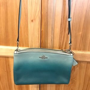 Coach Crossover bag Ombré teal color